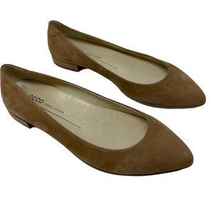 NWOB ECCO  Ballerina Suede Taupe Flats Size 36